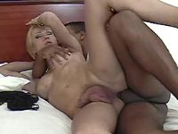 Blonde shemale fucked by latin guy