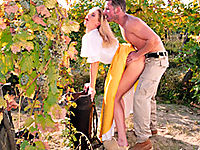 Blonde country girl fucked by the vineyards