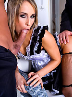 Horny maid in fishnet stockings fucking hard