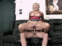 Grandmom sucks n jumps on old cock