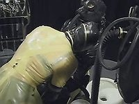 Slut in latex tortures chained dude