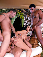 Three gorgeous brunette models in big orgy