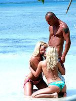 Two sweet blonde hotties fucked on the beach